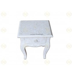 Bone Inlay 1 Drawer Curved Long Leg Bedside