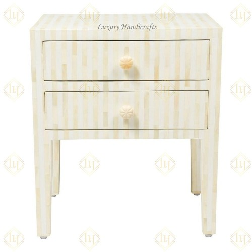 Bone Inlay 2 Drawer Bedside Table Stripe White