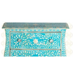 Bone Inlay 2 Drawer Small Chest Curved Legs Turquoise