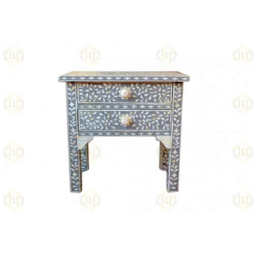 Bone Inlay 2 Drawer Top Bedside Grey