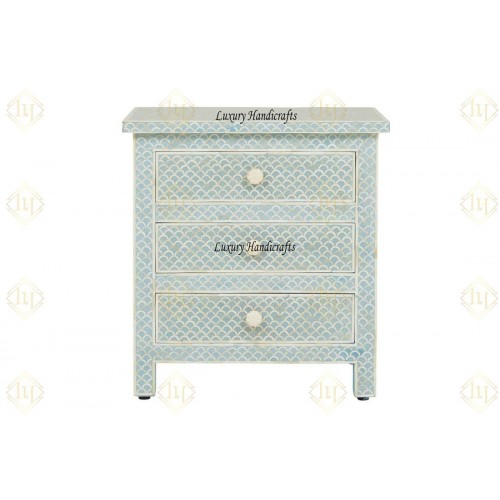 Bone Inlay Fishscale 3 Drawer Bedside Mint Green