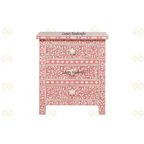 Bone Inlay Floral 3 Drawer Bedside Pink