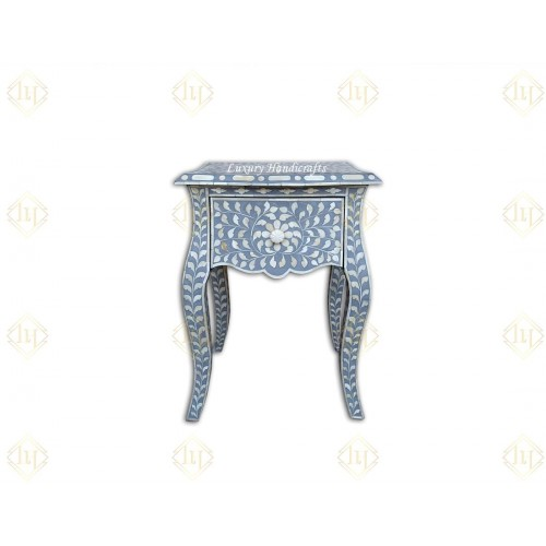 Bone Inlay Bedside 1 Drawer French Legs Floral Design Grey