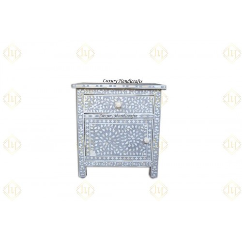 Bone Inlay Bedside Floral 1 Drawer 1 Door Grey