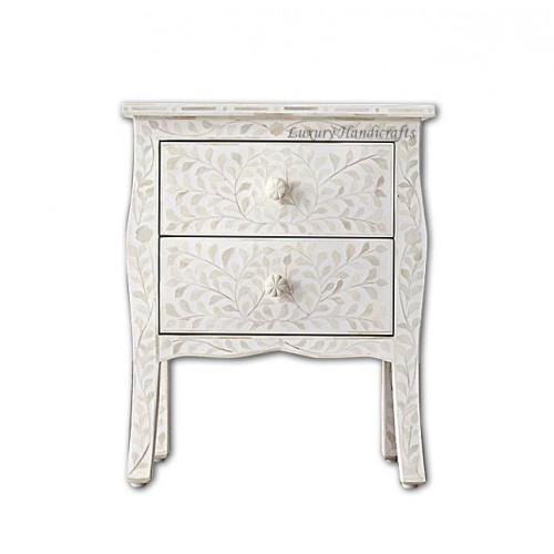 Bone Inlay Curved 2 Drawer Bedside Floral Design White