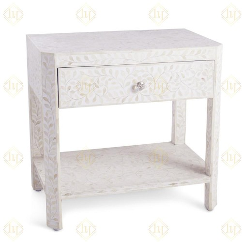 Bone Inlay Floral 1 Drawer 1 Shelf Bedside White