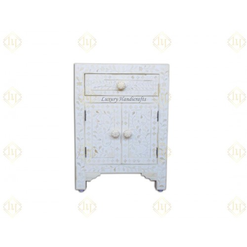 Bone Inlay Floral One Drawer Two Door Bedside Table White
