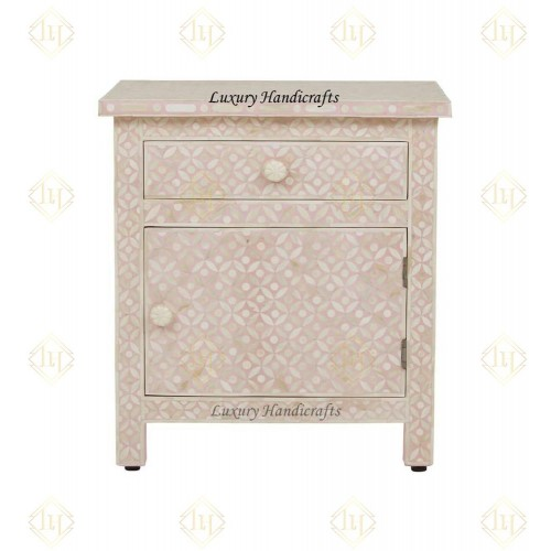 Bone Inlay Geometric Bedside 1 Drawer 1 Door Peach