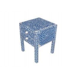 Blue Bone Inlay 2 Drawer Bedside Table Long Leg