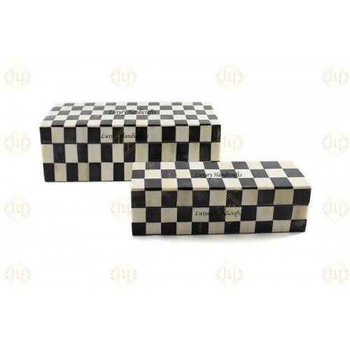Bone Inlay Box Chess Box Design Black And White Color