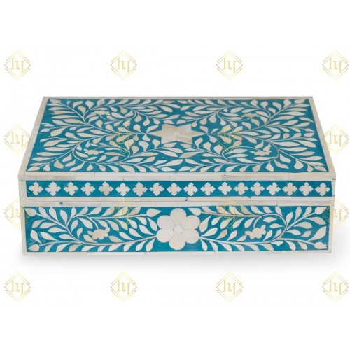 Bone Inlay Box Floral Design Turquoise