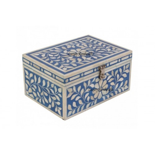 Bone Inlay Jewelry Box In Blue Color - Handmade With Floral Design