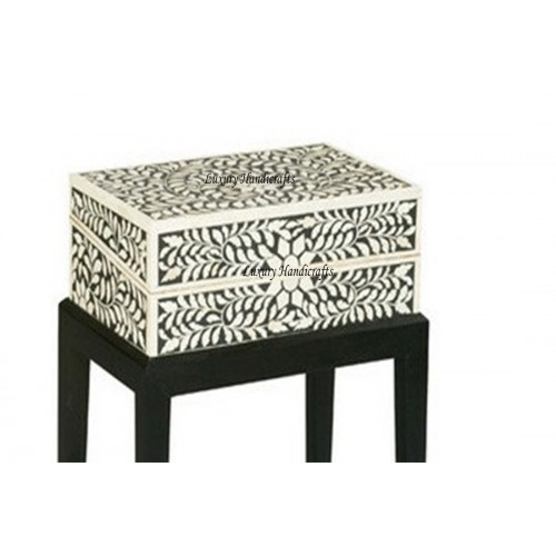 Bone Inlay Jewelry Box With Wood Stand In Black Color - Handmade Floral Design