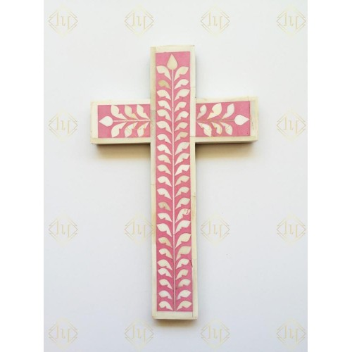 Bone Inlay Leaf Cross Pink
