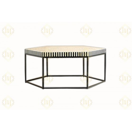 Bone Inlay Hexagonal Stripe Center Table With Iron Base Black