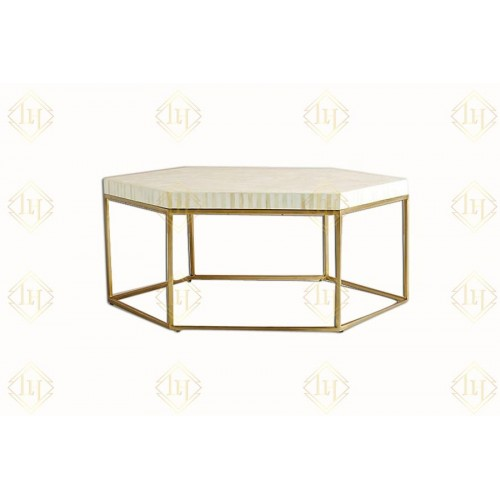 Bone Inlay Hexagonal Stripe Center Table With Iron Base White