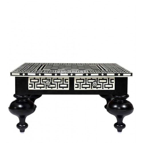 Chess Coffee Table With Camel Bone Inlay Work