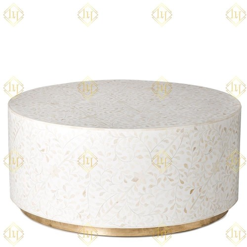 White Bone Inlay Center Table With Brass