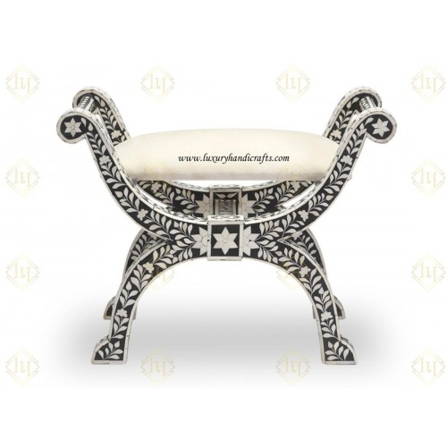 Bone Inlay Jenny Stool Floral Design Black