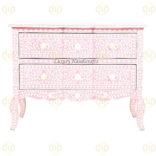 Baby Pink Bone Inlay French Chest 2 Drawer Floral Design