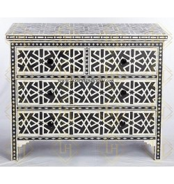 Wooden bone inlay chest of drawers