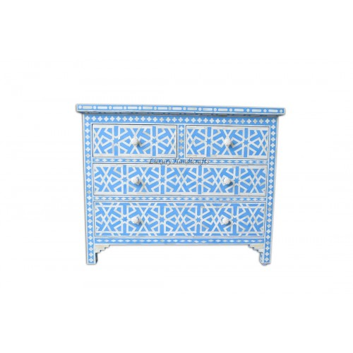 Blue Bone Inlay Chest Of 4 Drawer Star Geometrical Design