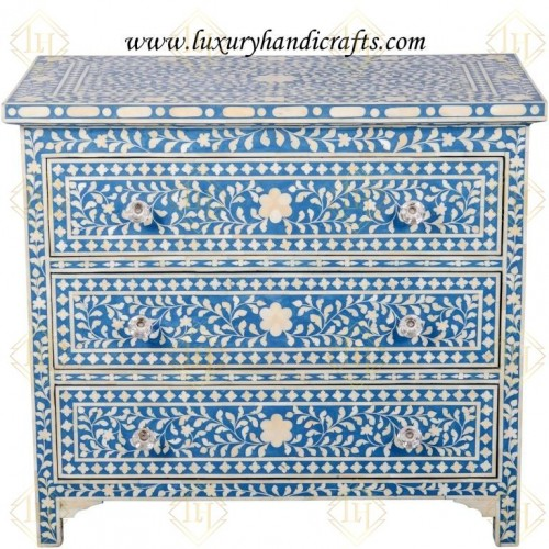 Bone Inlay 3 Drawer Chest Floral Design Blue