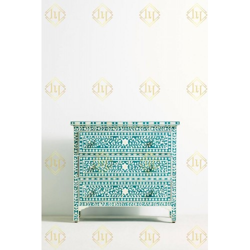Bone Inlay 3 Drawer Chest Floral Design Teal Green