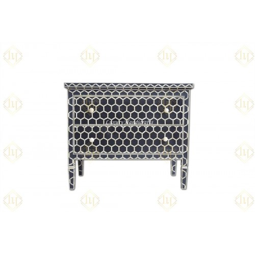Bone Inlay Chest Of 2 Drawer Honeycomb Design Black