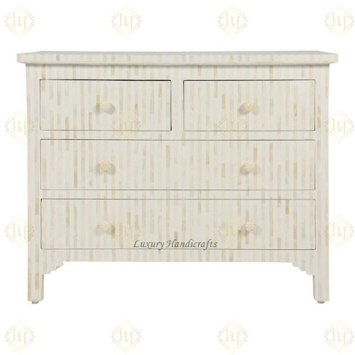 Bone Inlay Chest Of 4 Drawer Stripe White