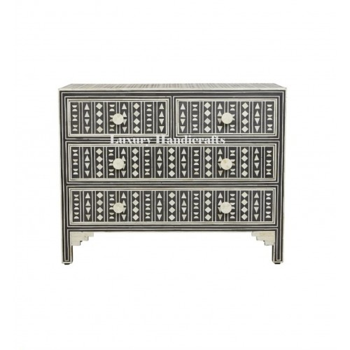 Bone Inlay Chest of 4 Drawers Tribal Design in Black