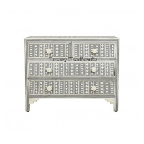 Bone Inlay Chest of 4 Drawers Tribal Design in Grey