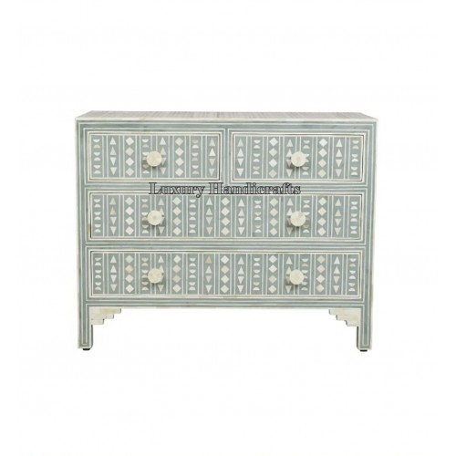 Bone Inlay Chest of 4 Drawers Tribal Design in Peal Green