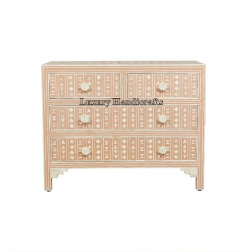 Bone Inlay Chest of 4 Drawers Tribal Design in Pink