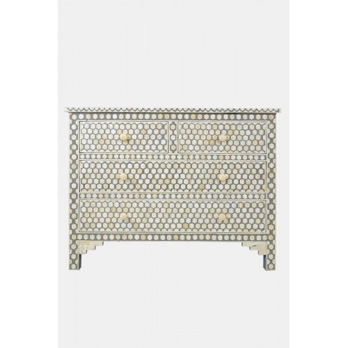 Bone Inlay Commode 4 Drawers Inverse Hexagon in Grey Color