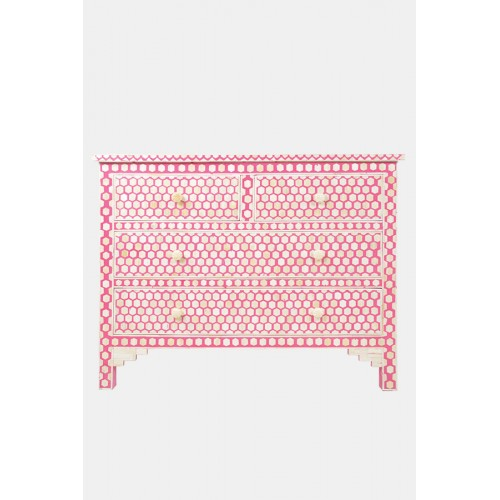 Bone Inlay Commode 4 Drawers Inverse Hexagon in Pink Color