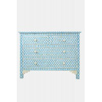 Bone Inlay Commode 4 Drawers Inverse Hexagon in Aqua Blue Color