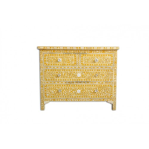Bone Inlay Floral Chest Of 4 Drawer Yellow