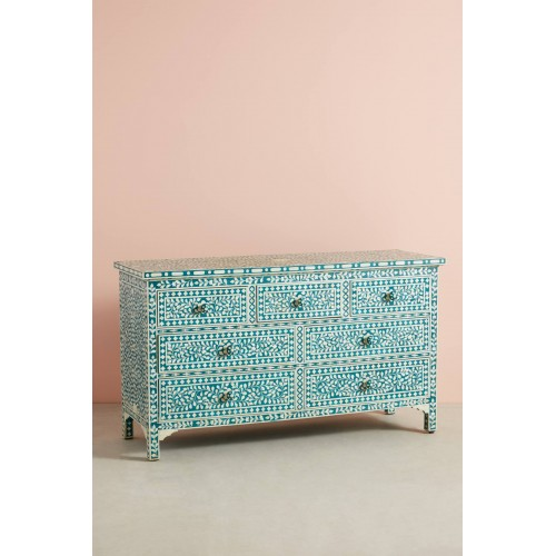 Bone Inlay Floral Chest Of 7 Drawers Teal Green