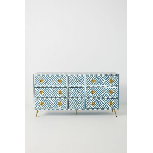 Chicago Bone Inlay 9 Drawer Dresser Sky Blue