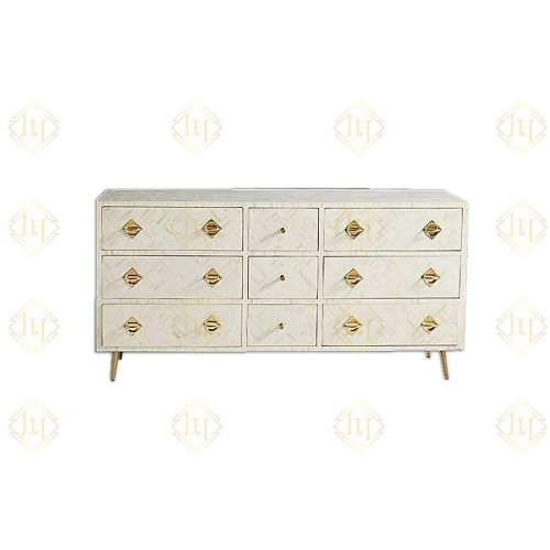 Chicago Bone Inlay 9 Drawer Dresser White