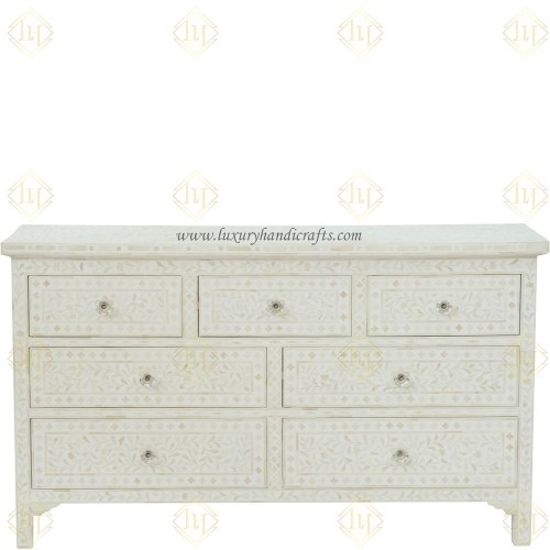 White Bone Inlay Floral Chest Of 7 Drawers