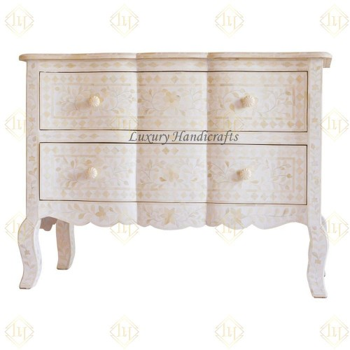 White Bone Inlay French Chest 2 Drawer Floral Design