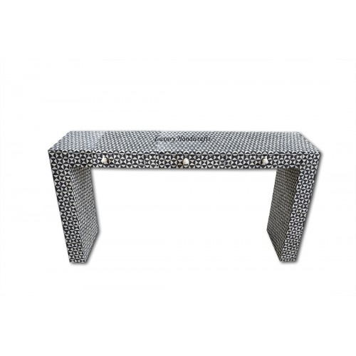 Black Bone Inlay 3 Drawer Triangle Console
