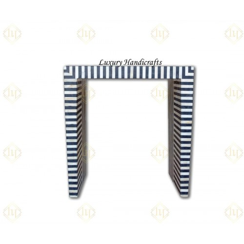 Black Bone Inlay Stripe Design Console Small