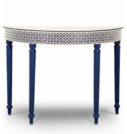 Blue Embossed Bone Inlay Curved Console
