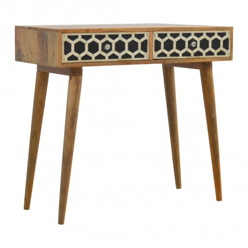 Bone Inlay 2 Drawers Honeycomb Design Console Table in Black