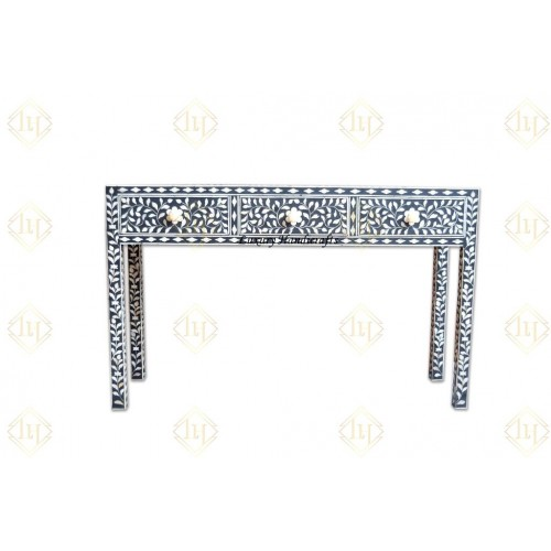 Bone Inlay 3 Drawer Floral Console Black