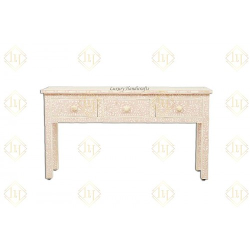 Bone Inlay 3 Drawer Floral Console Peach