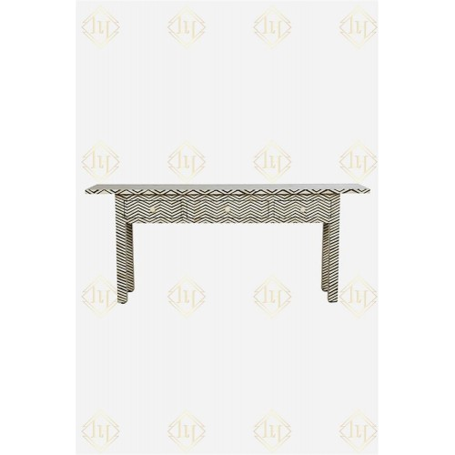Bone Inlay 3 Drawer Long Edges Console Chevron